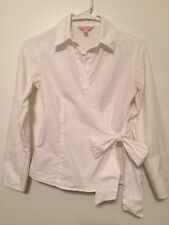 Lilly Pulitzer Sz 4 White Collared Wrap Blouse Top Excellent condition