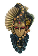 "NEW Fan & Feather Venetian Mask Wall Plaque 13""  Ship Immediately"