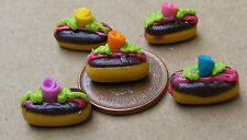 1:12 Scale 5 Chocolate Buns Dolls House Miniature Kitchen Shop Cake Accessory
