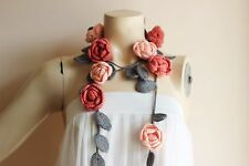 Rose Scarf-Salmon and Gray Crochet Scarf-Rose Necklace-Crochet Neckwarmer