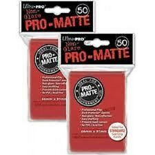 (x100) ULTRA PRO Card Sleeves *PRO-MATTE RED* DECK PROTECTORS MTG Pokemon