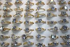 Neuf LOT DE 25PCS bague clair plaqué or  zircon Femme populaire charme rings