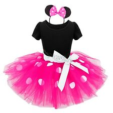 Baby Girls Polka Dots Minnie Mouse Outfit Halloween Tutu Dress Dance Skirt Pink