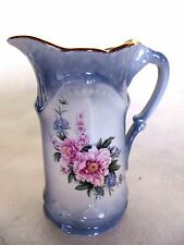Vintage Staffordshire Ironstone England Water Pitcher Gold Trim Top
