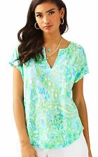NWT Lilly Pulitzer Pool Blue Any Fins Possible Duval Top, Sz M