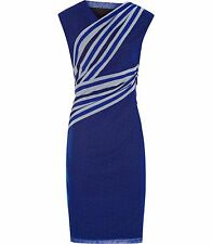 BNWT REISS FABIA BLUE PASSION FITTED PRINT STRETCH DRESS UK 14