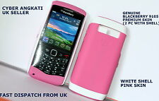 GENUINE BLACKBERRY 9105 PREMIUM SKIN (2 PC WITH SHELL) WHITE SHELL + PINK SKIN