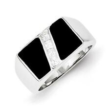 Men's 925 Sterling Silver Polished Black Onyx & CZ Ring Size 11