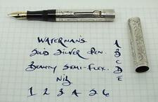 STUNNING WATERMAN'S 452 1/2V SOLID SILVER  FOUNTAIN PEN, SEMI-FLEX NIB.
