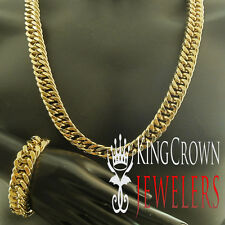 14k Yellow Gold Finish Mens Miami Cuban Link Stainless Steel Bracelet Chain Set