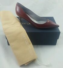 Sergio Rossi pumps kitten heels vero cuoio leather maroon red sz 38 (8) in Italy