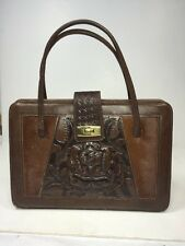 VINTAGE LEATHER HAND TOOLED MEXICAN PURSE HANDBAG AZTEC MAYAN ROSE
