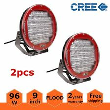 2pcs Red Round 9'' 96W Cree Led Driving Flood Work Light 4WD Offroad VS Hid 100W