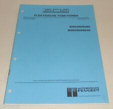 Werkstatthandbuch Peugeot 605 Elektrische Funktionen Stand 12/1989