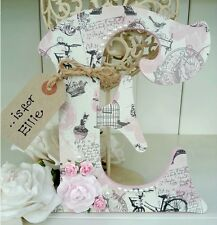Shabby personalised girls vintage roses pearls wooden letter/name sign chic