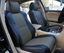 ACURA TL 2004-2008 BLACK/CHARCOAL S.LEATHER CUSTOM MADE FIT FRONT SEAT COVER