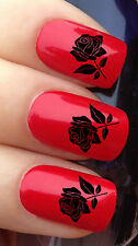 NAIL ART SET #639 x24 MIDNIGHT BLACK ROSE FLOWER WATER TRANSFER DECALS STICKERS