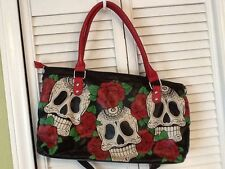 Folter Day of the Dead Skulls Roses Goth Hand Bag Punk Hot Topic Rockabilly