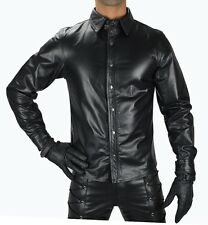 AW669 Mens Leather shirt,police style Gay leather shirt,lederhemd,Leder Hemd
