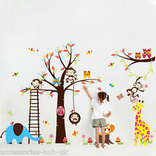 Owl Wall Stickers Elephant Animal Tree Baby Nursery Kids Room Vinyl Decals Art
