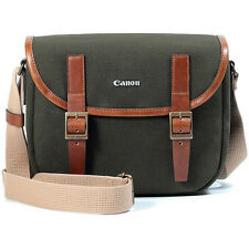 Canon EOS-M M10 M3 M2 M1 Canvas Camera Case Small Bag w/ Shoulder Strap (Green)