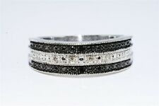 .05CT 3 ROW BLACK & WHITE DIAMOND BAND .925 STERLING SILVER SIZE 7