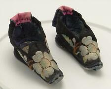 Antique Chinese Lotus Foot Binding Shoes Embroidered Silk Goldfish Black