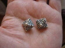 2 Bali SOLID Sterling Silver 16x16x13mm Large Ornate Beads, NOT Plated 6.37g