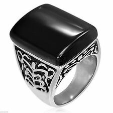 Black Agate Ornate Stainless Steel Ring Size 11