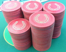 95 RED SM-KEY CLAY POKER CHIPS WITH BOX HORSESHOE CASINO QUALITY FREE SHIPPING