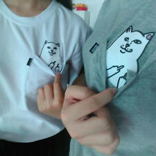 Women Girl Cute Kawaii Funny tumblr instagram middle finger cat tops shirt tee