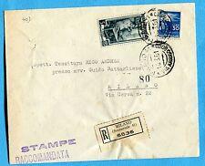 1952 DEM.£.30 + LAV.£.5 ann.MILANO, 18.03.51 + etichetta RACC.+ STAMPE  (257883)