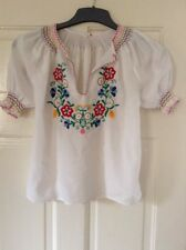 Beautiful Vintage Hand Embroidered Traditional Hngarian Girls Blouse