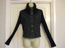 SIZE 14 DENIM / WOOL FABRIC WOMENS BLUE CARDIAN / JACKET Summer Ladies Work