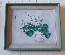 Vintage Framed 20th c Abstract Violets Flowers Still Life Oil Painting Canvas