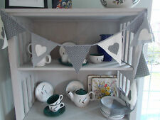 BUNTING GREY CREAM HEART STAR SHABBY CHIC PARTY 2 METRES CELEBRATION HAND MADE