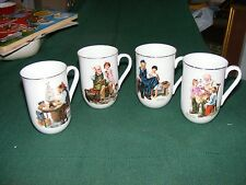1982 Set four Norman Rockwell Museum Coffee Mugs Tea Cups Gold Trim