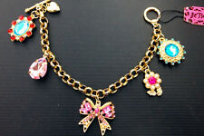 B327 Betsey Johnson Pink Ribbon Madame Butterfly Crystal Heart Chain Bracelet US