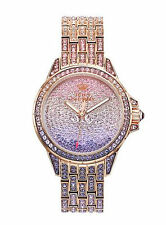NEW Juicy Couture Stella Rose Gold Tone Women's Watch Pink Purple Crystals BLING