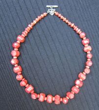 "Silpada Red Sponge Coral Nuggets Necklace l8""Long  Toggle Clasp RETIRED"