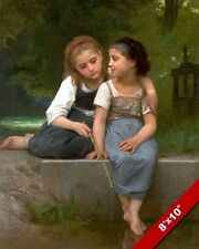 2 YOUNG SISTERS FRIENDS GIRLS FISHING IN POND OIL PAINTING ART REAL CANVAS PRINT
