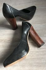 ALDO BLACK WOODEN HEELED SHOES - Size 38 (5)