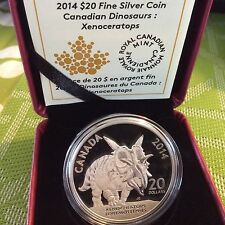 ONE DAY AUCTION Canada 2014 $20 XENOCERATOPS 1oz Silver Coin Canadian Dinosaurs