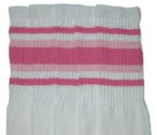 """22"""" KNEE HIGH WHITE tube socks with BUBBLEGUM PINK/BABY PINK stripes st4 (22-45)"""
