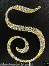 "GOLD Plated Rhinestone  Monogram Letter ""S""  Wedding Cake Topper  5"" inch high"