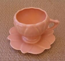 """CUTE!  Vintage, USA Pottery, """"Flower-petal style """"salmon"""" coffee cup & saucer"""