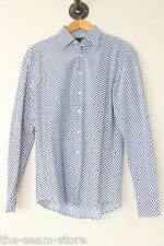 Etro Eyecrushing Zig Zag Cotton Club Shirt 16.5 Blue White Stripe Italy Spots
