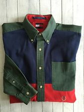 Men's Vintage Tommy Hilfiger Color Block LS Button Shirt Green Navy Red Medium