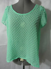 Nwt BOZZOLO Chiffon Tulip Dressy Top SM Mint Green scoop blouse Dot sheer shirt