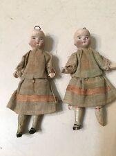 Two Antique Miniature Dolls Victorian Era ? Signed On Back Of Head